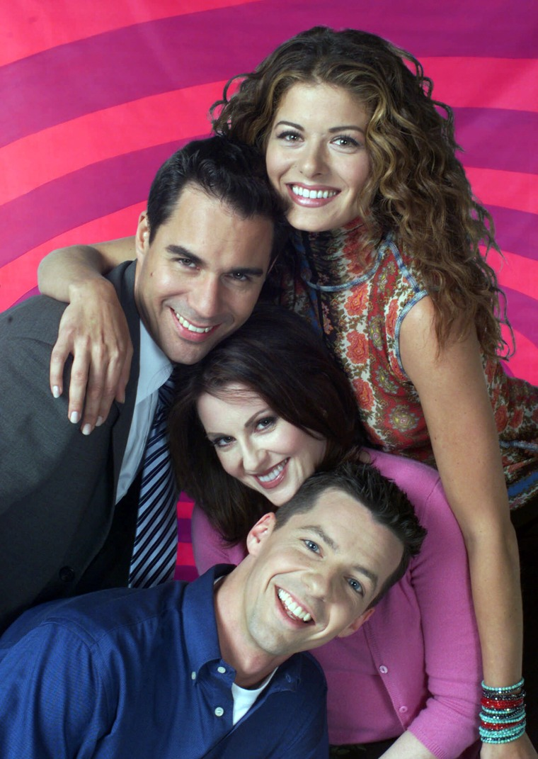 """Debra Messing as Grace, Eric McCormack as Will, Megan Mullally as Karen, Sean Hayes as Jack are shown in the in the NBC series """"Will & Grace."""""""