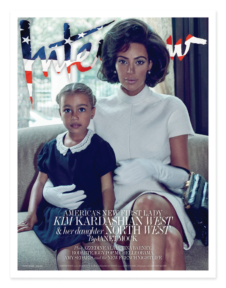 Kim Kardashian dresses up like Jackie Kennedy in the September issue of Interview.