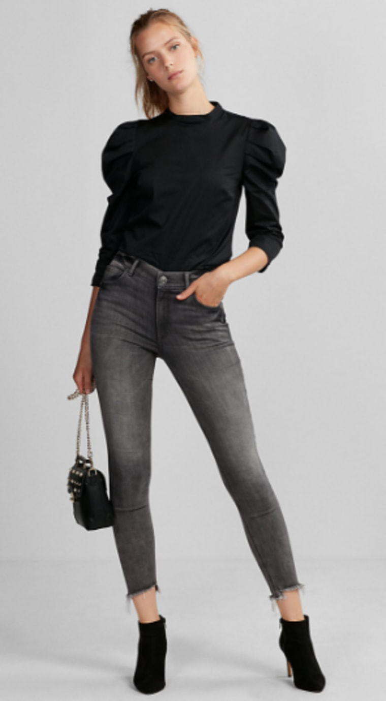 jeans, high waisted jeans, shopping, stretch jeans, express, style, celeb style