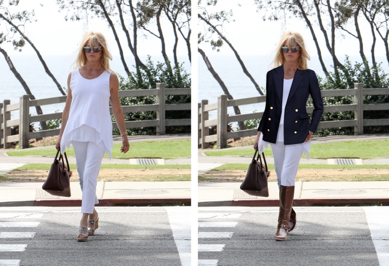 Goldie Hawn in white jeans