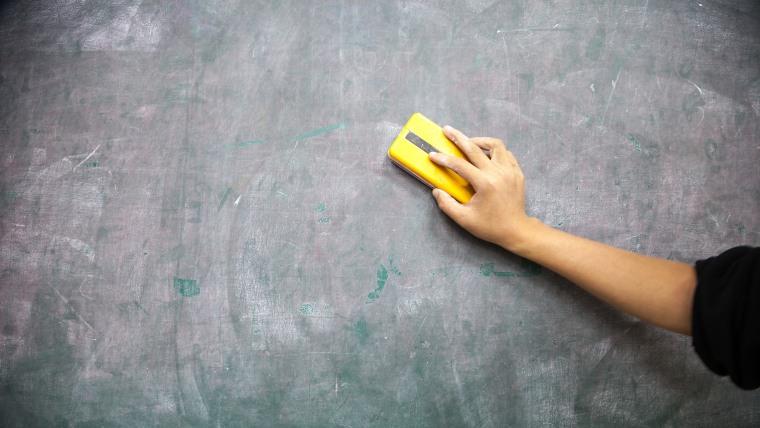 cleaning blackboard