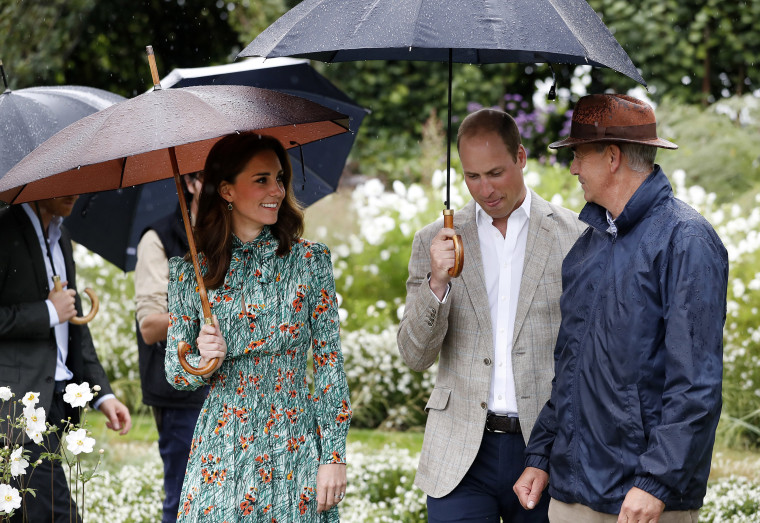 Britain's Prince William, second right, and his wife Kate, Duchess of Cambridge