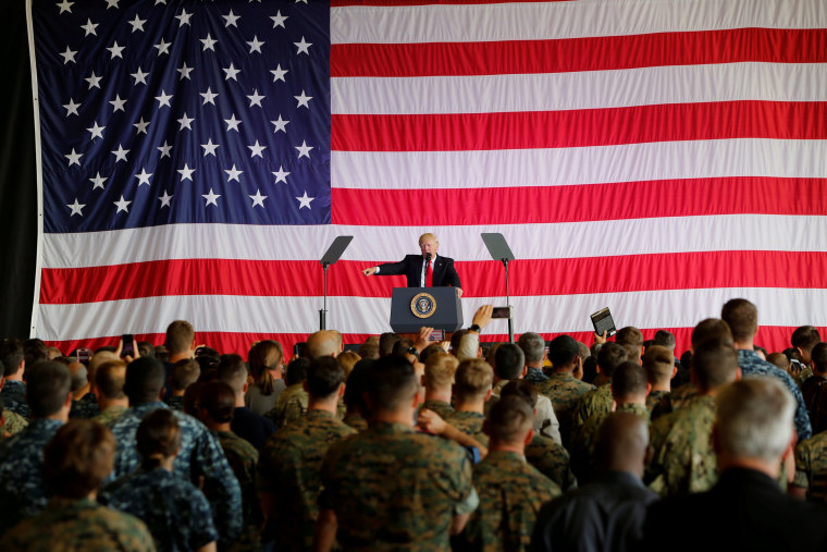 Image: FILE PHOTO: U.S. President Donald Trump delivers remarks to U.S. military personnel at Naval Air Station Sigonella following the G7 Summit, in Sigonella