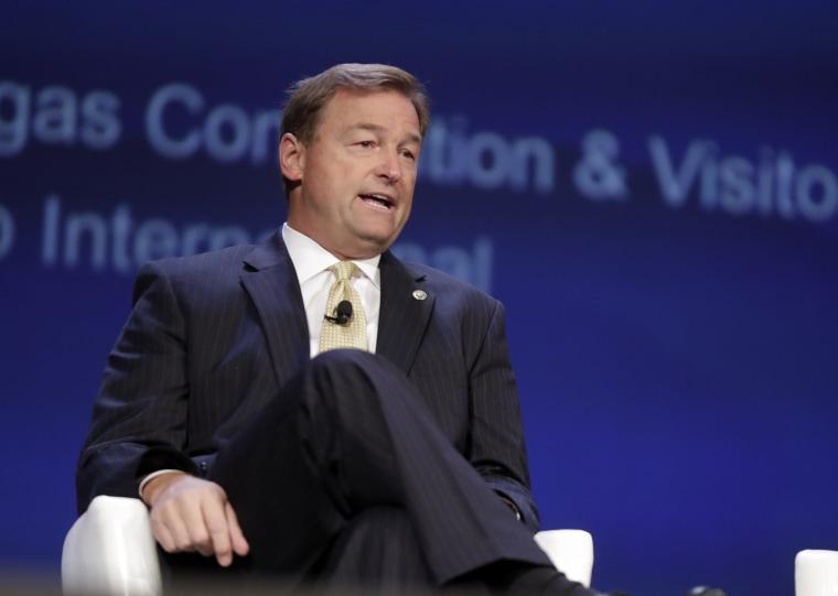 Image: U.S. Sen. Dean Heller R-Nev. attends an aviation conference