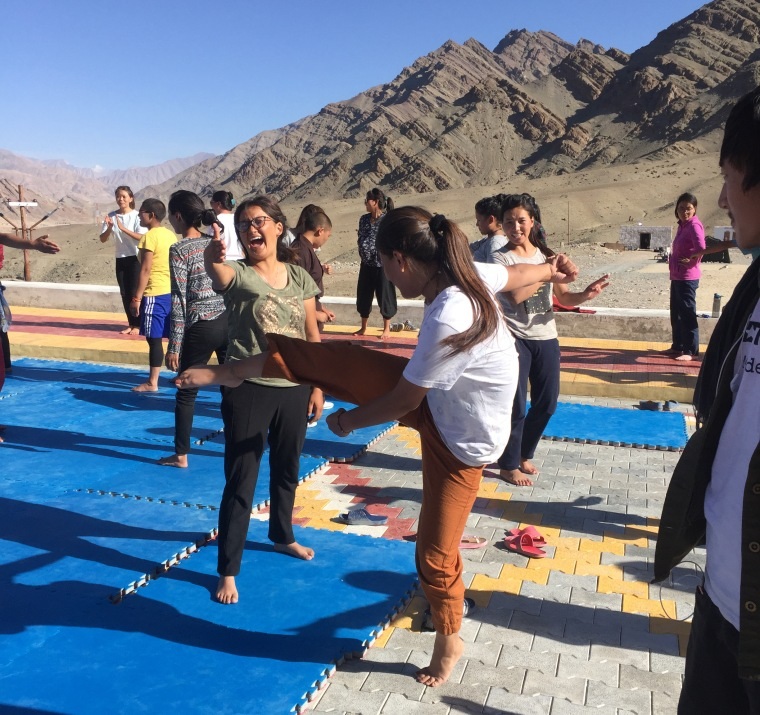 Girls in India's Ladakh region practicing kung fu.
