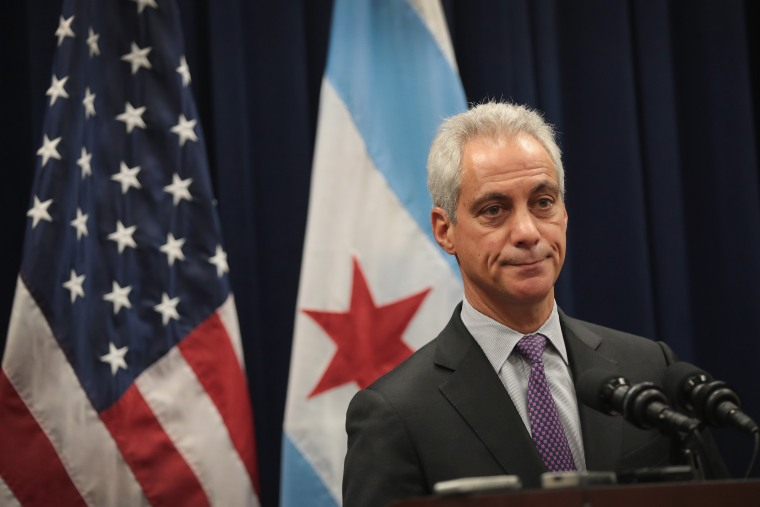 Image: Chicago Mayor Rahm Emmanuel Speaks To The Press After City Council Meeting