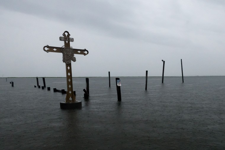 Image: Clouds gather at the Mississippi River Gulf Outlet Hurricane Katrina memorial in Shell Beach, Louisiana. Tuesday.