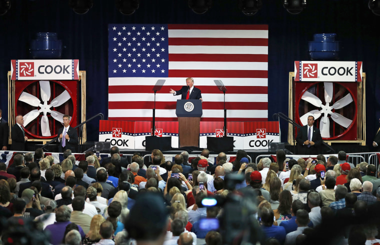 Image: President Donald Trump speaks about tax reform on Aug. 30, 2017, at the Loren Cook Company in Springfield, Missouri