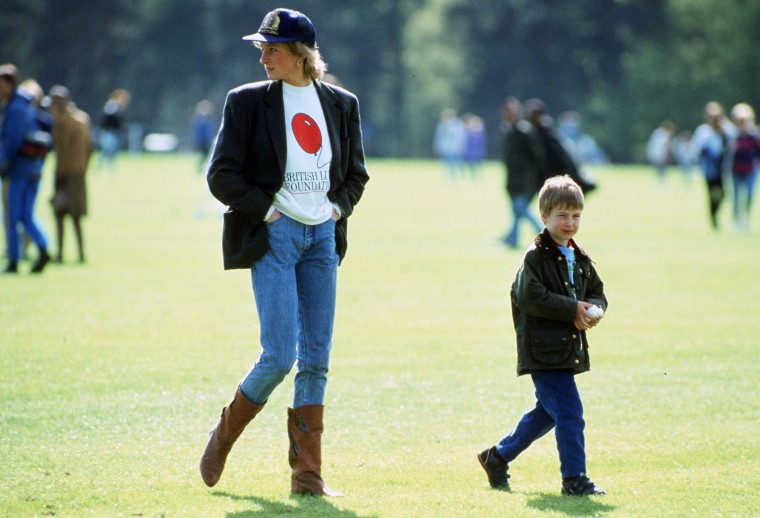 Image: Prince William with his mother Diana, Princess of Wales at Guards Polo Club