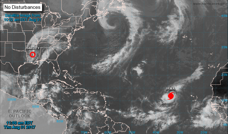 Image: Tropical Storm Irma strengthened into a category 2 hurricane Thursday (Aug. 31) in the Atlantic.