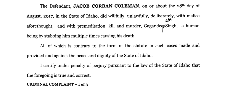 An excerpt of a complaint detailing the charges against Jacob Coleman.