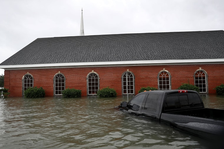 Image: A church is surrounded by water after the flooding of Hurricane Harvey inundated the area on Aug. 30, 2017 in Port Arthur, Texas.