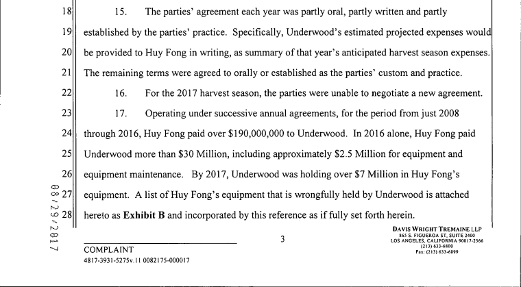 An excerpt of a lawsuit between Sriracha hot sauce producer Huy Fong and its chili pepper producer.