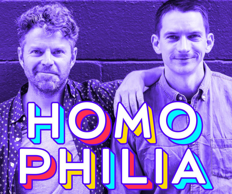 """Dave Holmes (left) and Matt McConkey are the hosts of """"Homophilia,' a podcast on Earwolf.com"""