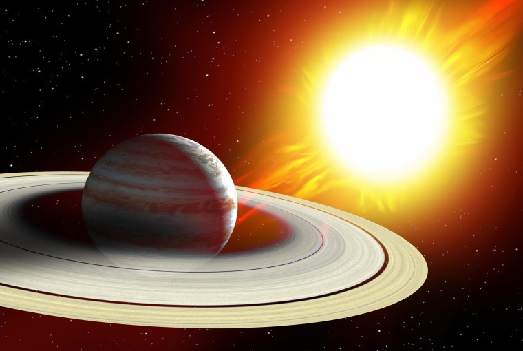 Artist's illustration of a planet with a giant ring system near a star. Such a planet might explain the strange dimming behavior of Tabby's Star.