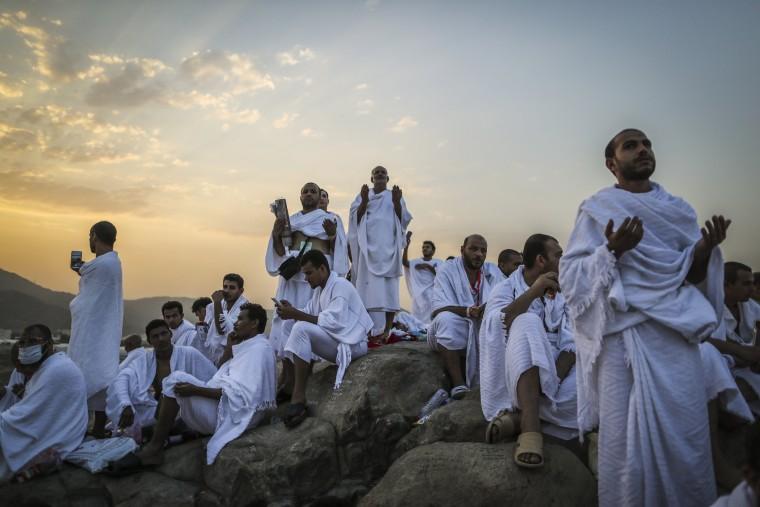 Image: Muslim worshippers pray during the Hajj pilgrimage on the Mount Arafat