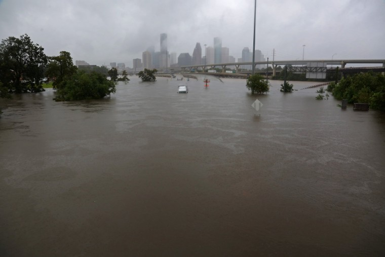 Image: Interstate highway 45 is submerged from the effects of Hurricane Harvey