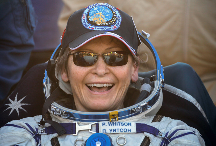 Image: International Space Station (ISS) crew member NASA astronaut Peggy Annette Whitson reacts after landing with the Soyuz MS-04 capsule in a remote area outside the town of Zhezkazgan, Kazakhstan, Sept. 3, 2017.