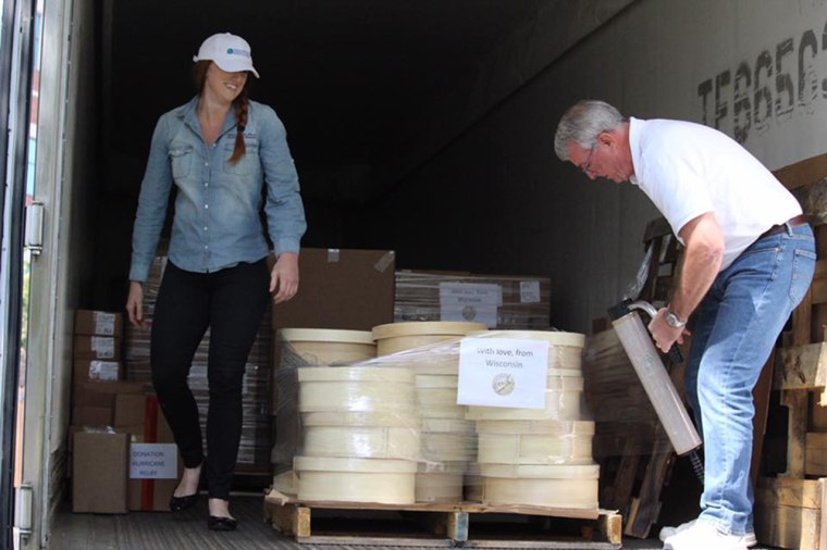 Image: Wisconsin cheese is loaded onto a truck for people affected by Harvey