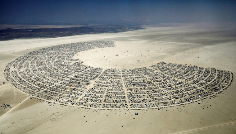 Image: Black Rock City is seen in the Black Rock Desert of Nevada