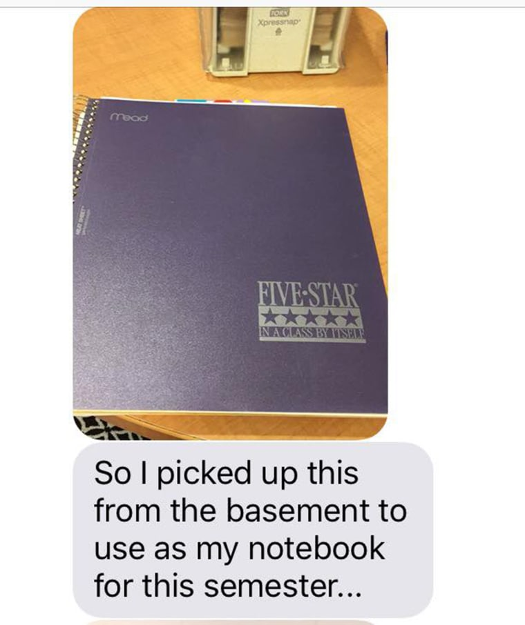College daughter texted her mom and told her she realized the notebook she grabbed from home for school was the same notebook her mom used to organize her paperwork when she was going through infertility treatments trying to have her.