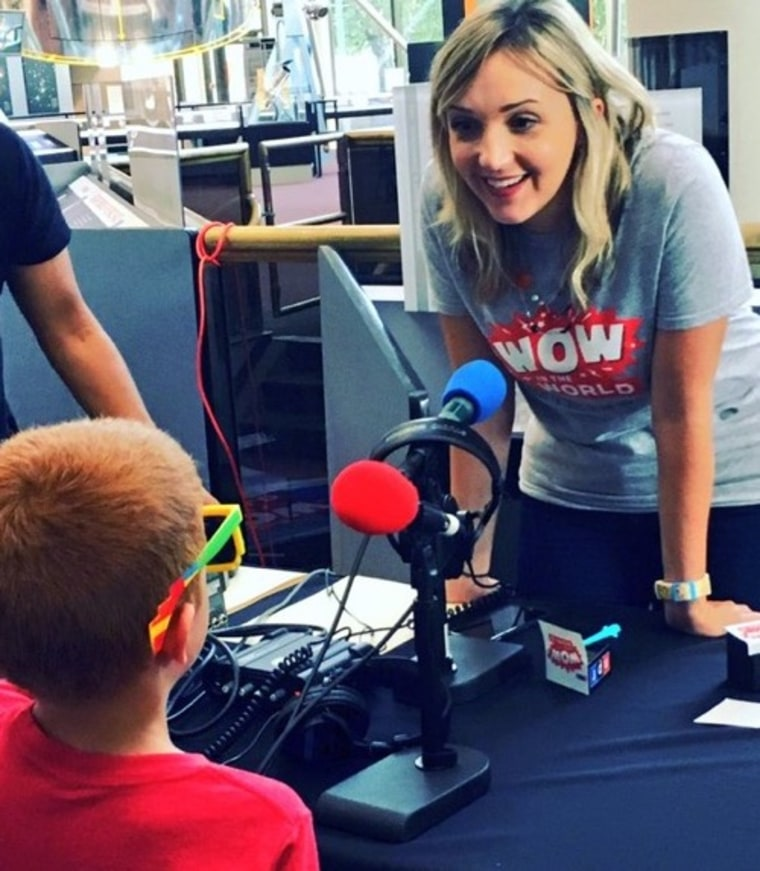 "Mindy Thomas with a ""Wow in the World"" listener at an event in Washington, D.C."