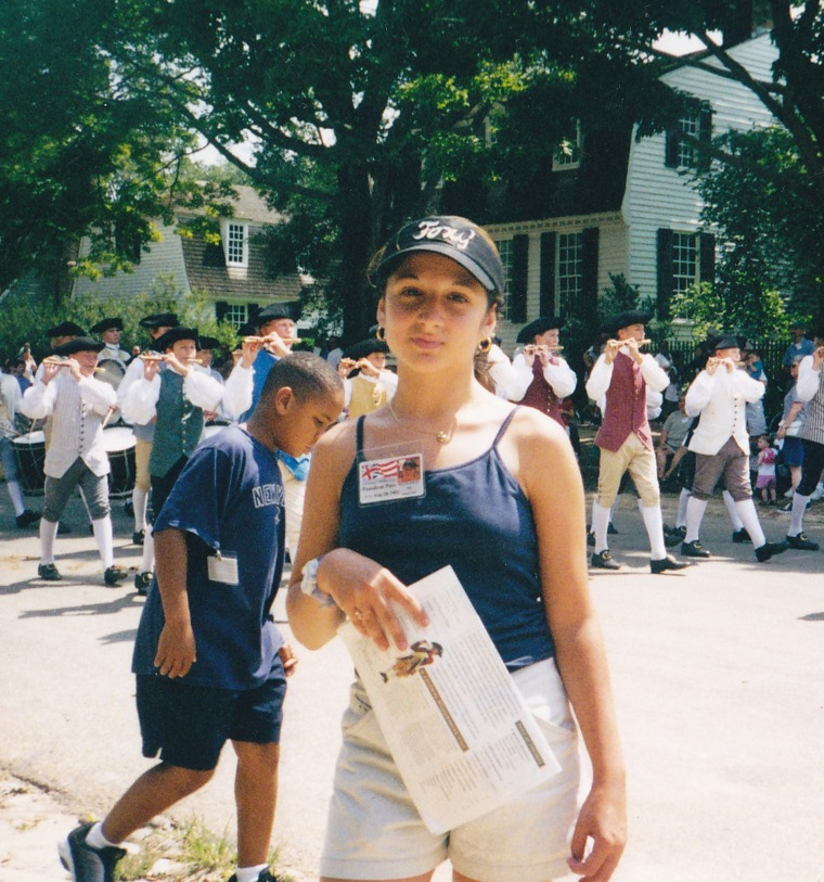 Helaina Hovitz in Colonial Williamsburg one week before September 11, 2001