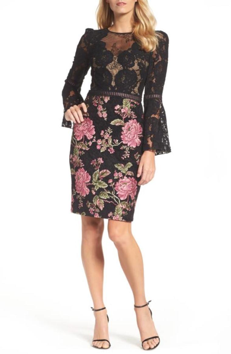 Tadashi Shoji Lace & Brocade Sheath Dress
