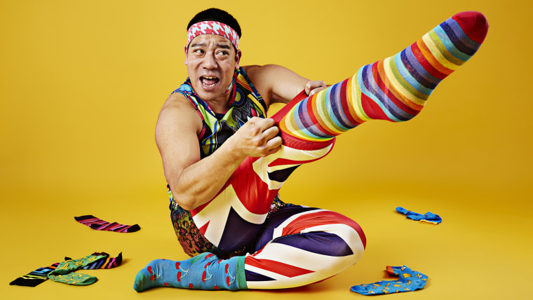 Mr Cherry - Most socks put on one foot in 30 seconds Guinness World Records 2016 Photo Credit: Ranald Mackechnie/Guinness World Records