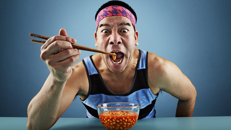 Mr Cherry - Most baked beans eaten with chopsticks in one minute