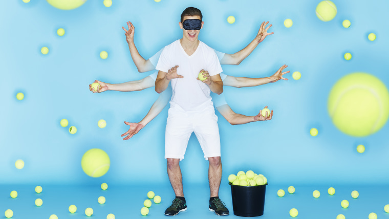 Andre Ortolf - Most tennis balls bounced and caught blindfolded in 1 minute