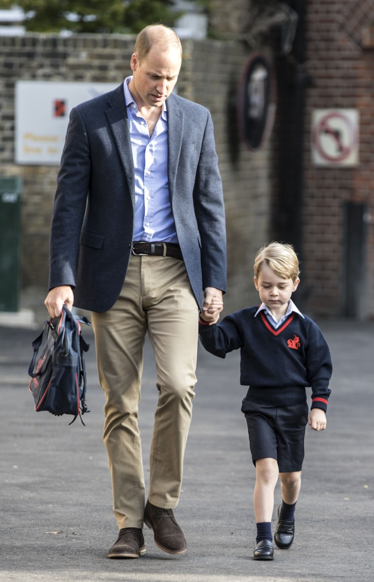 Prince George and his father, Prince William, during the boy's first day of school.