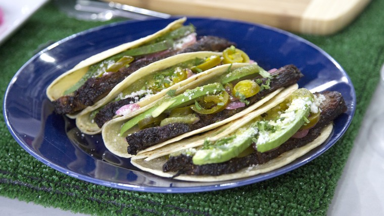 Dallas Brisket Tacos with Cotija Cheese, Salsa Verde and Pickled Red Onions