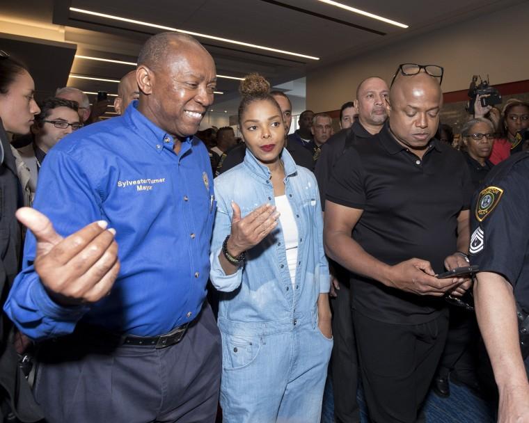 Janet Jackson visits Hurricane Harvey Evacuees Center in Houston