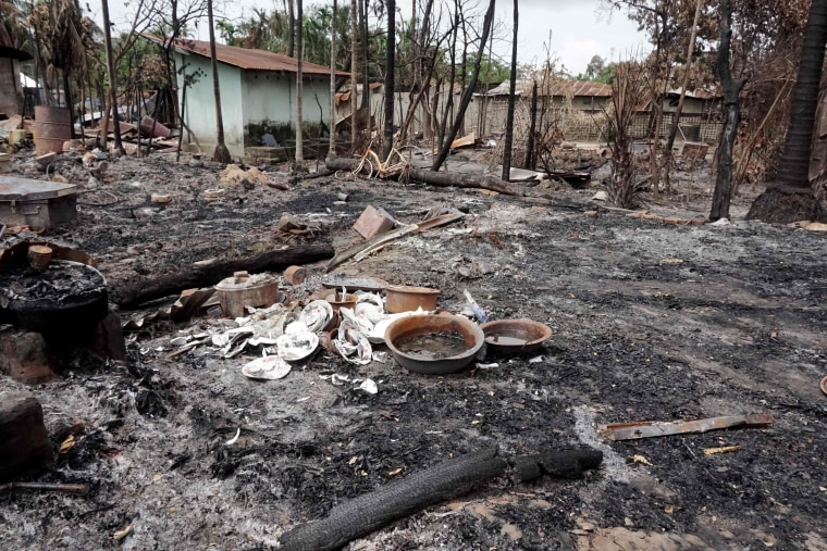 Image: The burned-out remains of a house near Maungdaw, Myanmar