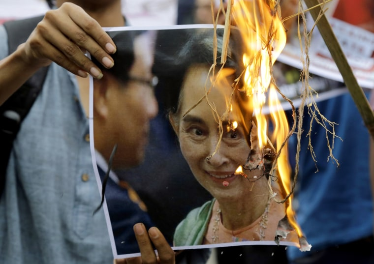 Image: Poster featuring Aung San Suu Kyi
