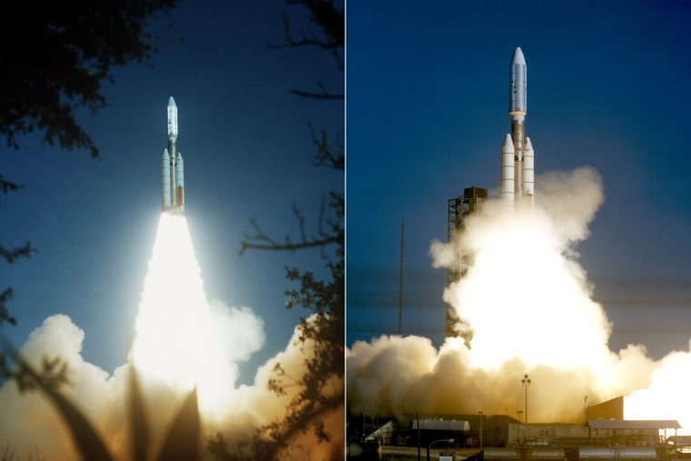 NASA's Voyager 2, left, was launched on Aug. 20, 1977 from the Kennedy Space Center in Florida where it was propelled into space on a Titan/Centaur rocket. Voyager 1 was launched a few weeks later, on Sept. 5, 1977.