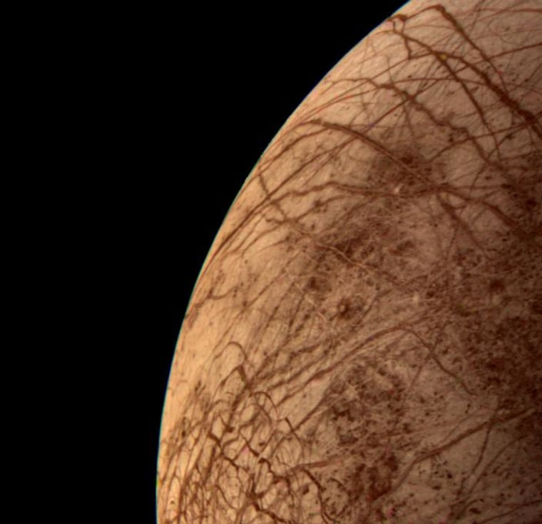 This color image of the Jovian moon Europa was acquired by NASA's Voyager 2 during its close encounter on July 9, 1979. Europa, the size of our moon, is thought to have a crust of ice perhaps 100 kilometers thick which overlies the silicate crust.