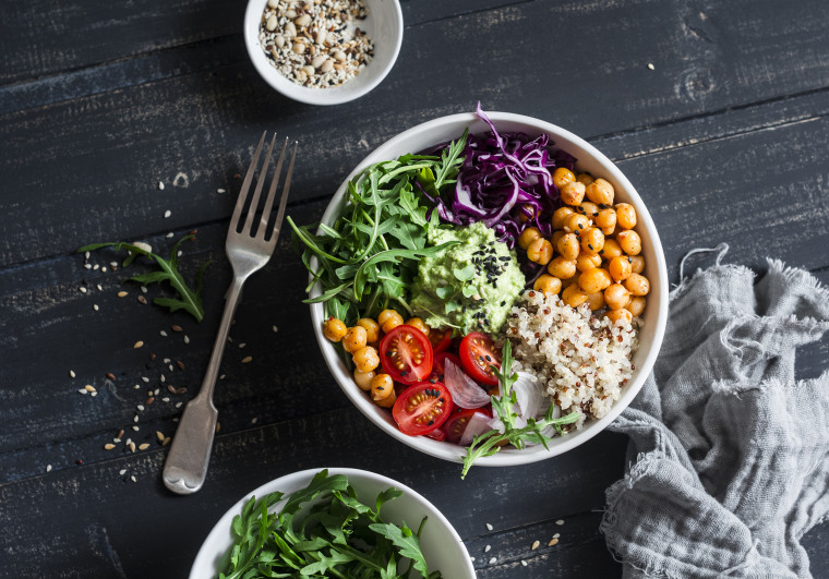Simple, grab-and-go items like eggs, beans, pre-made rice or grains, salad ingredients like pre-washed greens and veggies make the perfect WFH lunch.