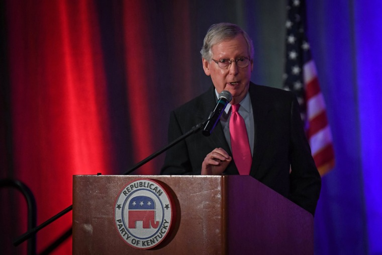 Image: US Senate Majority Leader Mitch McConnell speaks at the Republican Party of Kentucky's Lincoln Dinner, in Louisville