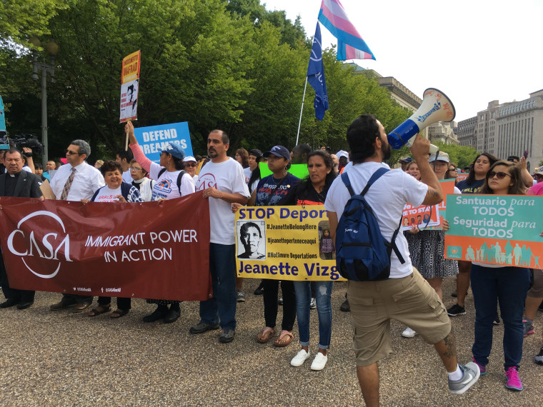 Protesters chant in front of the White House on Tuesday Sept. 5, when the Trump administration announced it would rescind DACA.
