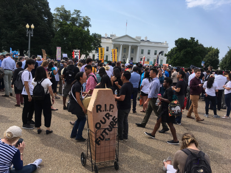 Protesters gather outside the White House on Sept. 5. The Trump administration announced it would rescind the DACA program.