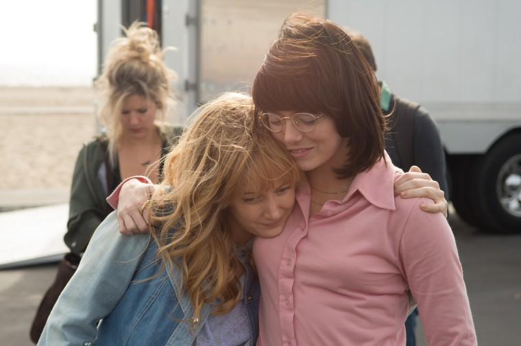 Andrea Riseborough and Emma Stone in the film BATTLE OF THE SEXES.