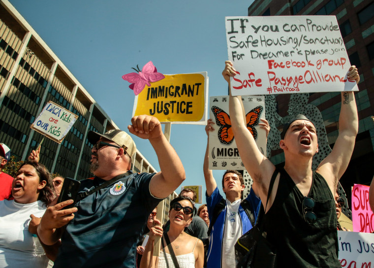 Image: Supporters of the Deferred Action for Childhood Arrivals (DACA) program recipient during a rally outside the Edward R. Roybal Federal Building in Los Angeles, California