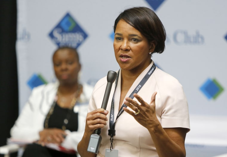 Rosalind Brewer, Sam's Club president and chief executive officer, speaks to members of the media in 2016 at the Sam's Club in Bentonville, Arkansas.