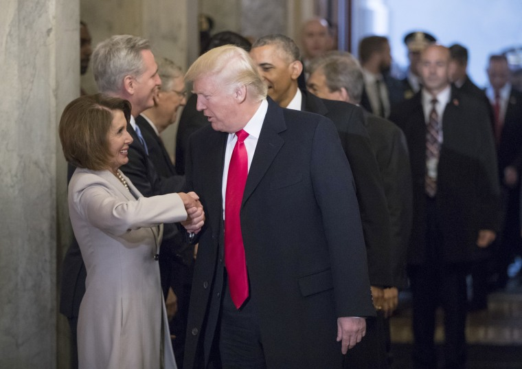 Image: President-elect Donald Trump greets House Minority Leader Nancy Pelosi