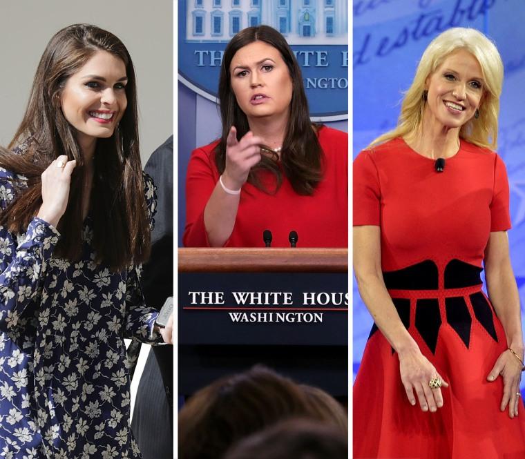 Image: Hope Hicks, Sarah Huckabee Sanders, and Kellyanne Conway