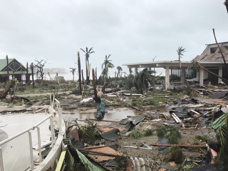 Debris is scattered on the ground on Sept. 6.  after the passage of Hurricane Irma in St. Martin.