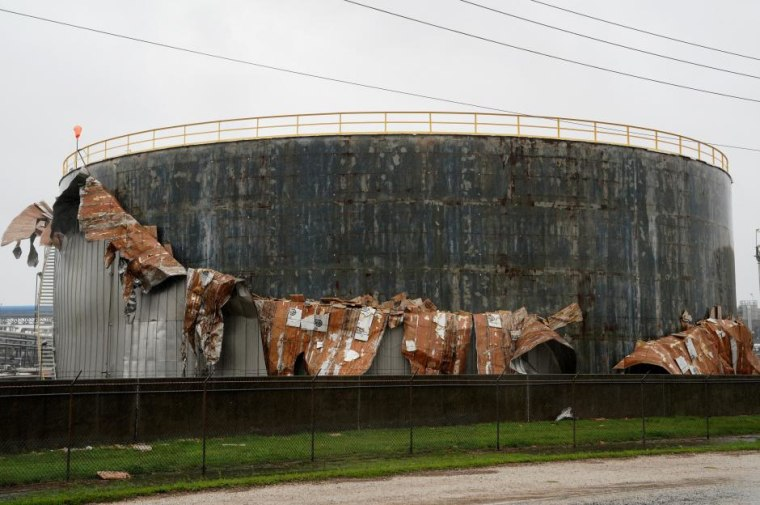 An oil tank damaged by Hurricane Harvey is seen near Seadrift