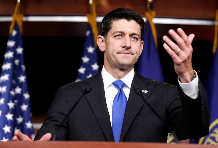 Image: Speaker of the House Paul Ryan (R-WI) speaks during a press briefing on Capitol Hill in Washington